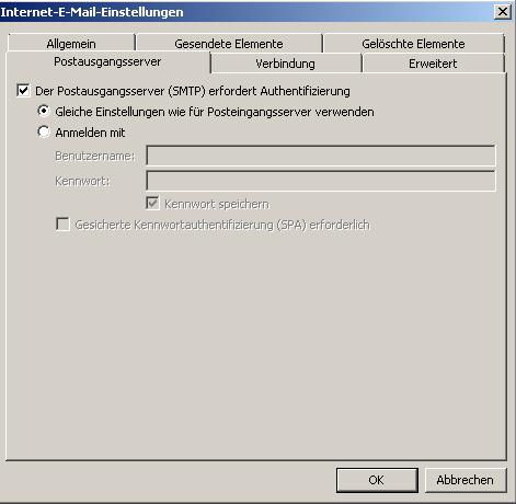 Postausgangsserver erfordert Authentifizierung